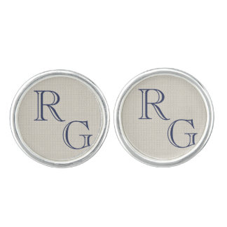 Personalized initials monogram beige grey blue cufflinks
