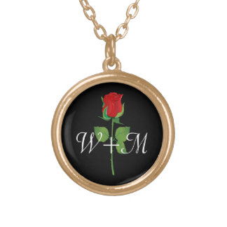 Personalized Initials Red Rose Love Valentines Day Necklace