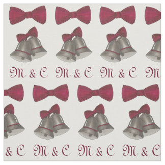 Personalized Initials Silver Bells Wedding Fabric