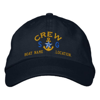 Personalized Initials Text Crew Star Anchor Embroidered Hat