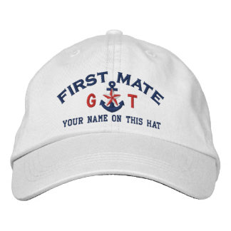 Personalized Initials Text First Mate Star Anchor Embroidered Baseball Cap