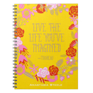 Personalized Inspiration Live Life Imagined Quote Notebook