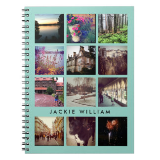 Personalized Instagram Photo Mint Blue Notebook