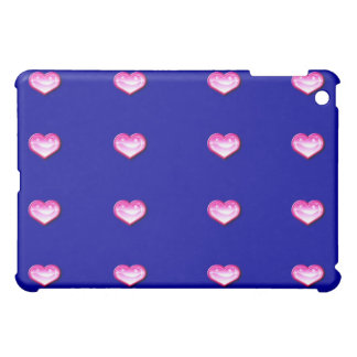 Personalized Ipad case cover blue with pink hearts