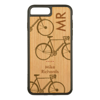 personalized iPhone 6 with bikes on wood Carved iPhone 8 Plus/7 Plus Case
