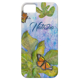 Personalized iPhone Case with Butterfly & Leaves