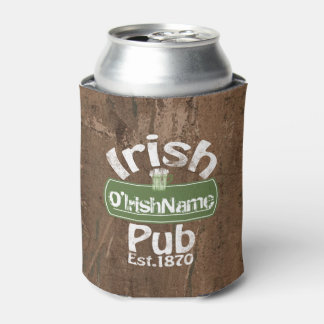 Personalized Irish Pub Old Keg Effect Sign Can Cooler