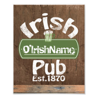 Personalized Irish Pub Old Keg Effect Sign Photo Print