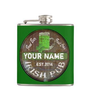 Personalized Irish Pub sign Hip Flask