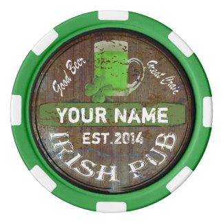Personalized Irish Pub sign Set Of Poker Chips