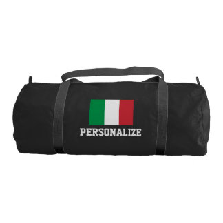 Personalized Italian flag duffle gym bag | Black