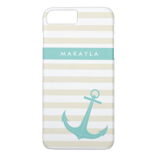Personalized Ivory Stripes and riptide blue Anchor iPhone 7 Plus Case