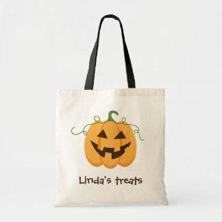 Personalized Jack o lantern trick or treat bag