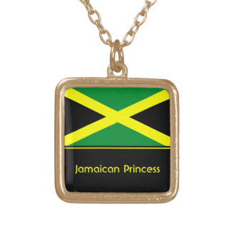 Personalized Jamaican Flag Pendant, Jamaica Gold Plated Necklace