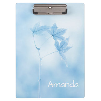 Personalized Japanese Maple Leaves in Blue Clipboard