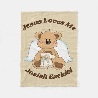 Personalized Jesus Loves Me Fleece Blanket