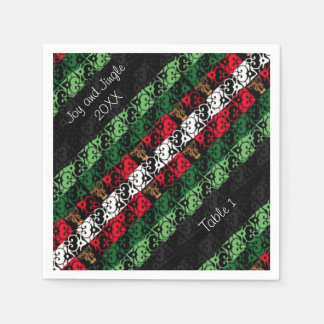 Personalized Joy and Jingle Holiday Party Napkins Disposable Serviette