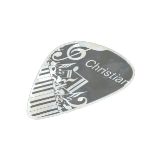 Personalized Jumbled Musical Notes and Piano Keys Pearl Celluloid Guitar Pick