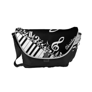 Personalized  Jumbled Musical Notes and Piano Keys Commuter Bags