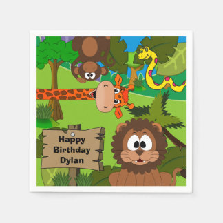 Personalized Jungle Birthday Disposable Serviettes