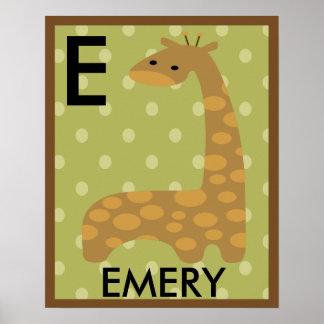 Personalized Jungle Giraffe Wall Art Name Poster