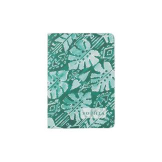Personalized JUNGLE IKAT Hawaiian Green Tropical Passport Holder