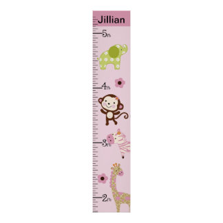 Personalized Jungle Jill/Girl Animals Growth Chart Poster