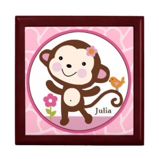 Personalized Jungle Jill/Girl Monkey Keepsake Box