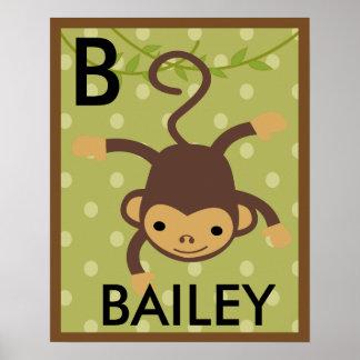 Personalized Jungle Monkey Wall Art Name Poster