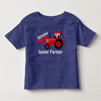 """Personalized """"Junior Farmer"""" & Red Loader Tractor Toddler T-Shirt"""