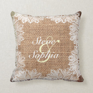 Personalized Jute Burlap and Lace Cushion