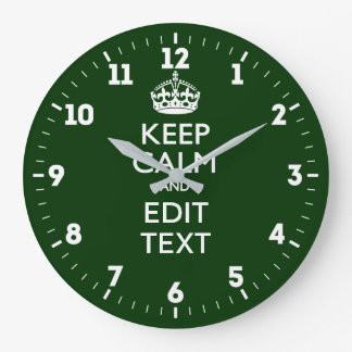 Personalized Keep Calm And Have Your Text on Green Large Clock