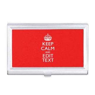 Personalized Keep Calm And Your Text Red Classic Business Card Holder