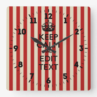 Personalized Keep Calm Your Text Popcorn Stripes Square Wall Clock