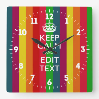 Personalized Keep Calm Your Text Rainbow Stripes Square Wall Clock