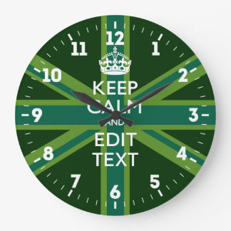 Personalized Keep Calm Your Text UK Flag Green Large Clock
