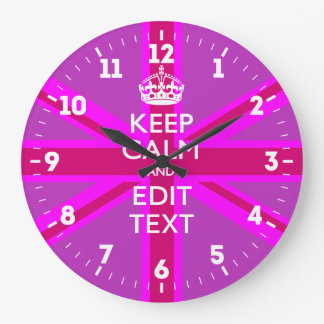 Personalized Keep Calm Your Text UK Flag Pink Large Clock