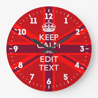 Personalized Keep Calm Your Text UK Flag Red Large Clock