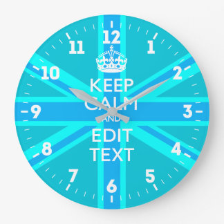 Personalized Keep Calm Your Text UK Flag Sky Blue Large Clock