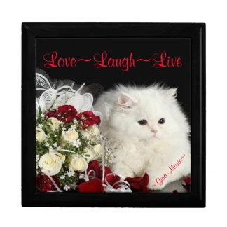 Personalized Keepsake Box Large/Roses/White Cat