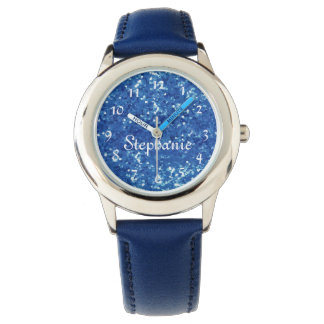 Personalized Kids Blue Glitter-Look Watch