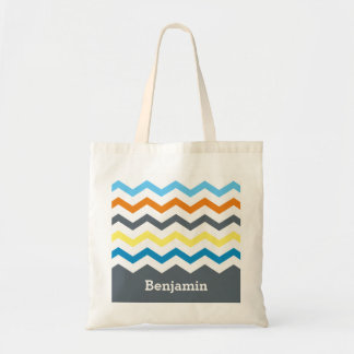 Personalized Kids Chevron Gray Blue Orange Yellow
