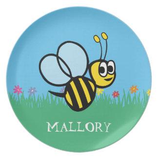 Personalized Kids Cute Bee Garden Bumblebee Dinner Plates