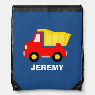 Personalized kids drawstring bag with dump truck