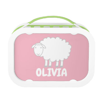 Personalized kid's lunch box with cute sheep