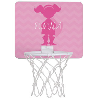 Personalized Kids Pink Superhero Girl Silhouette Mini Basketball Hoop