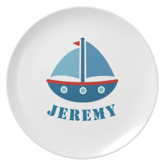 Personalized kids plate with nautical toy sailboat