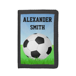 Personalized Kids Soccer Ball Green Grass Tri-fold Wallet