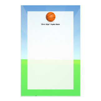 Personalized Kid's Sports Basketball Sunny Day Personalized Stationery