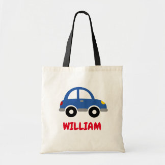 Personalized kid's tote bag with cute toy car logo